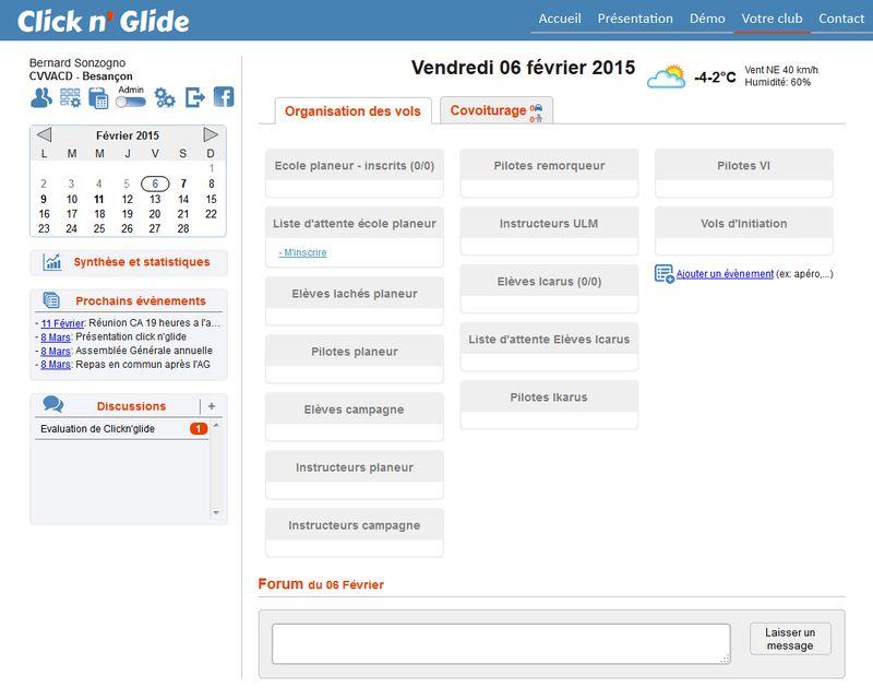 ClickNGlide - Ecran Acueil